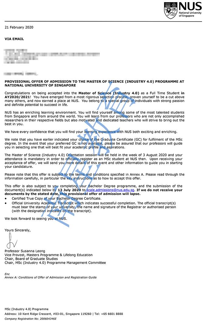 新加坡国立大学大学工业4.0专业硕士录取offer一枚