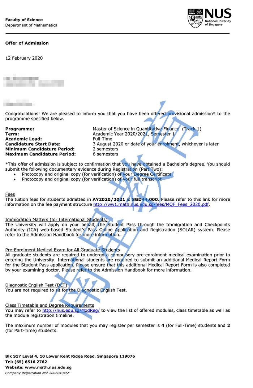 新加坡国立大学大学计量金融专业硕士录取offer一枚