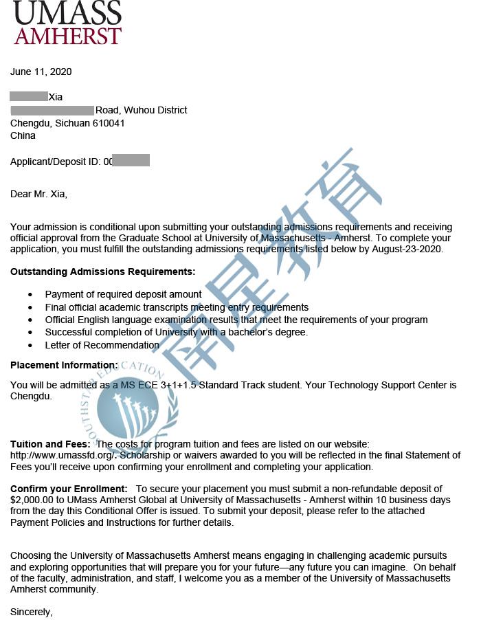 马萨诸塞大学阿默斯特大学ECE专业硕士录取offer一枚