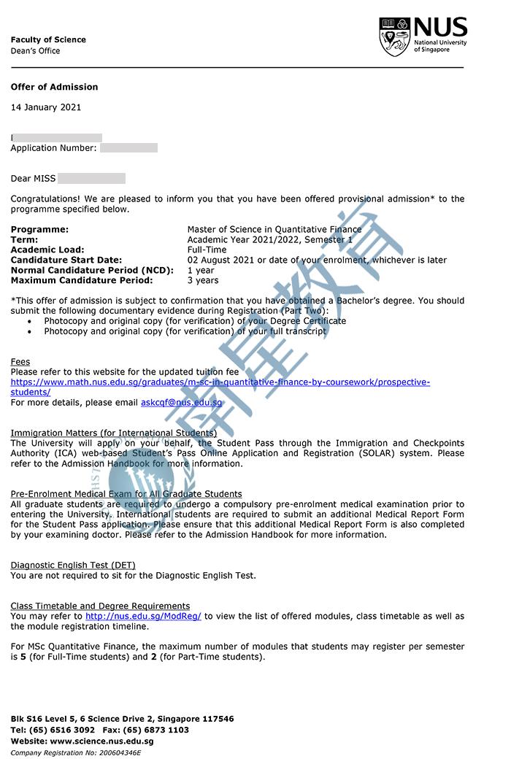新加坡国立大学大学定量金融专业硕士录取offer一枚