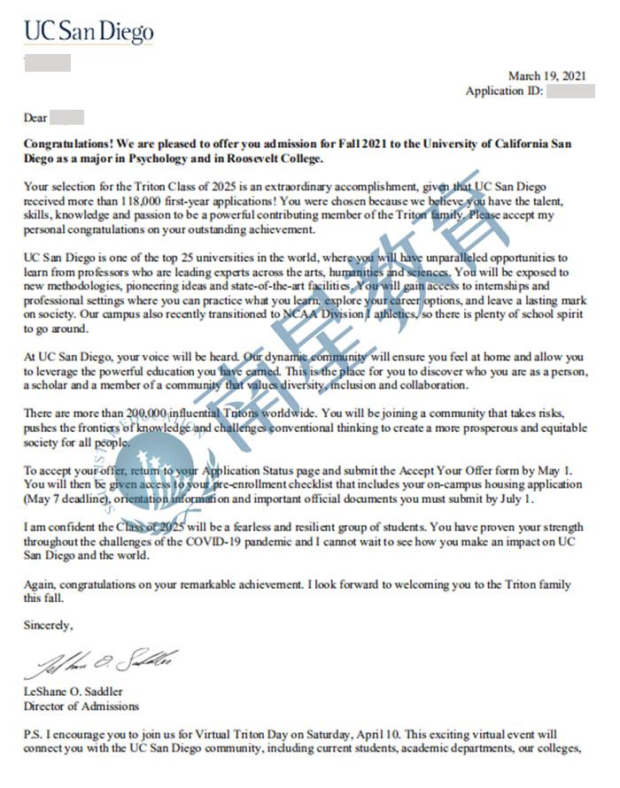 加州大学圣地亚哥分校大学心理学专业学士录取offer一枚