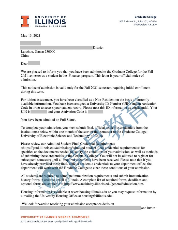 伊利诺伊大学香槟分校大学金融专业硕士录取offer一枚