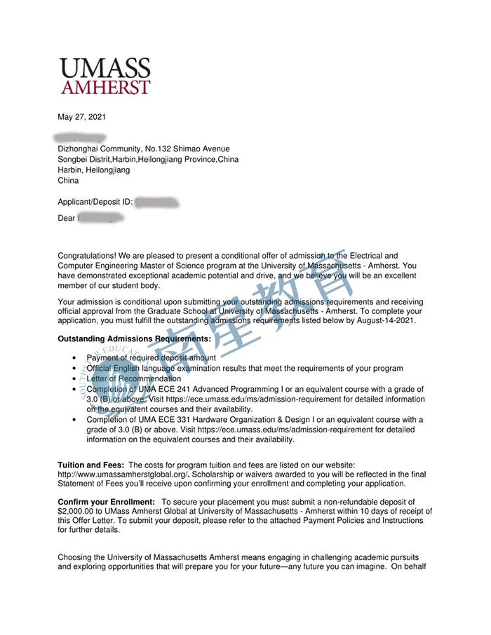 麻省大学大学电气与计算机工程专业硕士录取offer一枚