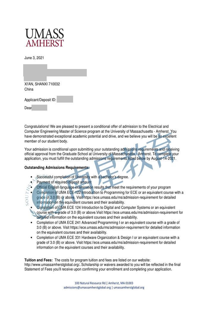 麻省大学大学电气和计算机工程专业硕士录取offer一枚